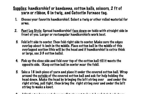 Handkerchief Doll - pant legs 8-3-20
